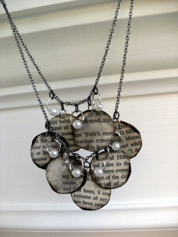 Recycling Old Book Paper Necklace