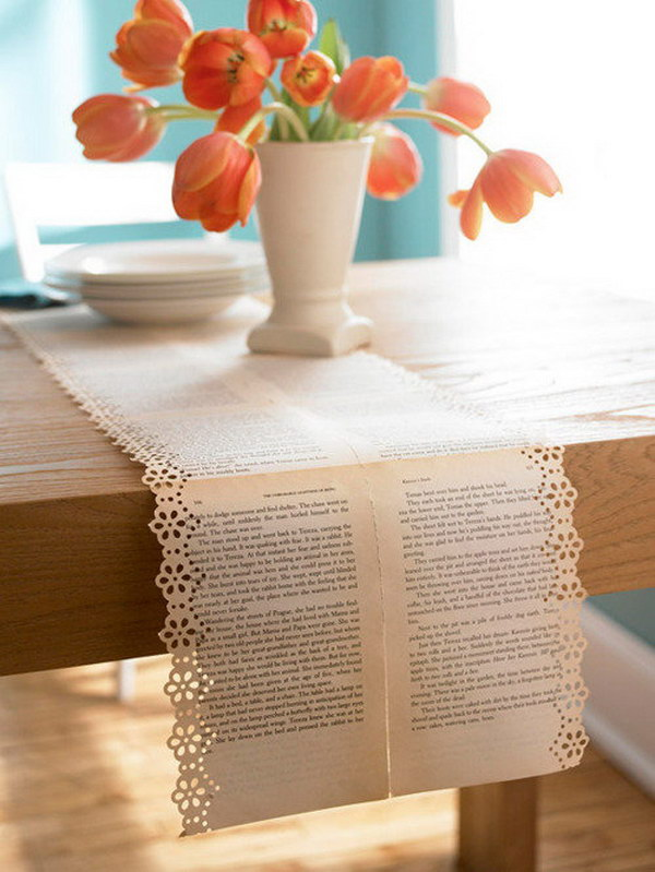 Vintage Old Book Pages Table Runners