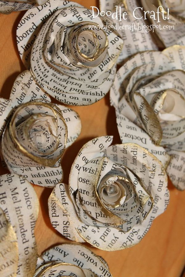 DIY Upcycled Book Page Rosettes.