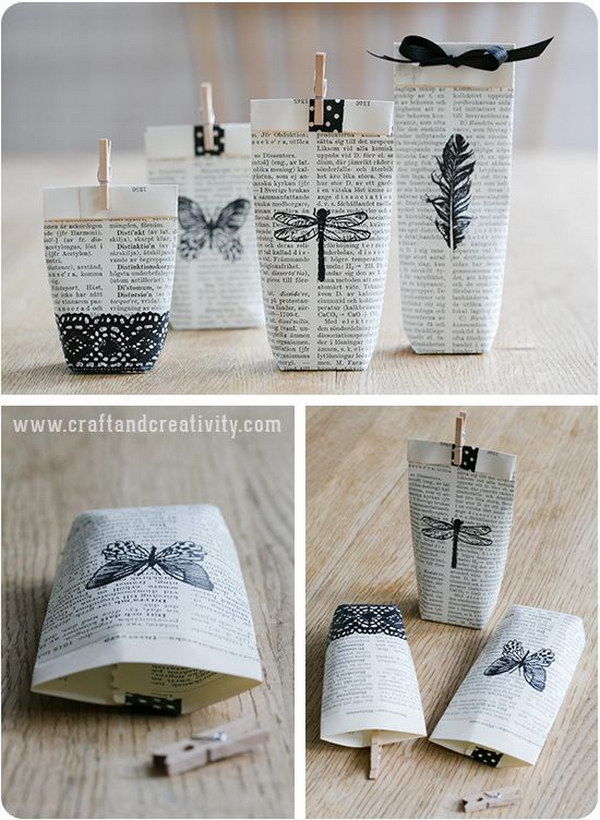 Upcycled Old Pages Gift Bags with Black Embellishments
