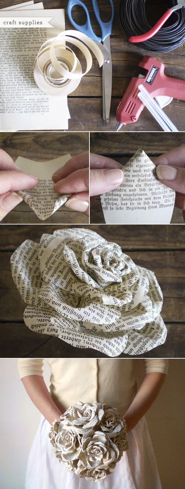 Easy and beautiful diy projects made with old books for Hand works with waste things