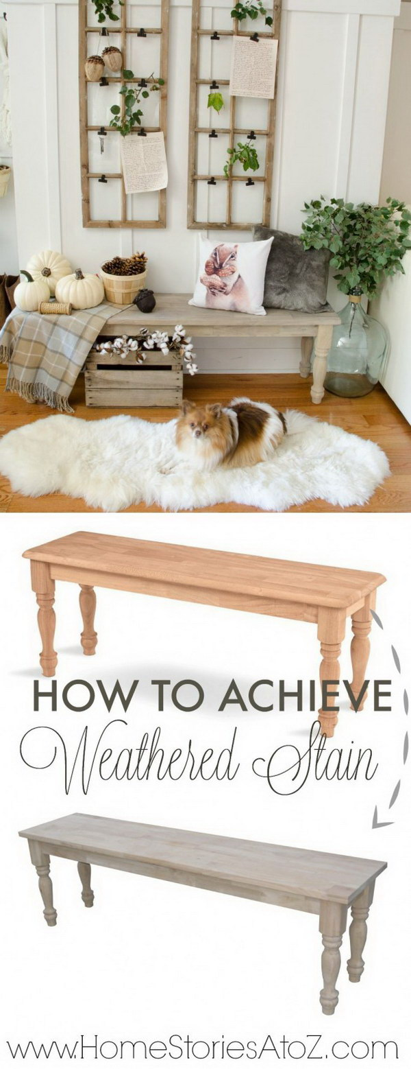 How To Achieve A Weathered Wood Stain On Furniture.