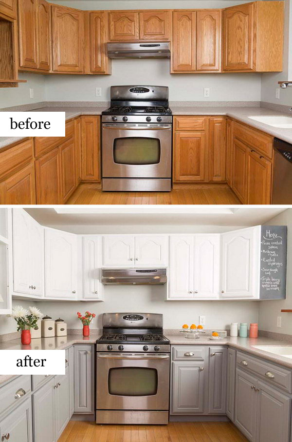 Simple Kitchen Makeover With Painted Cabinets 2 3 Before And After Remodel