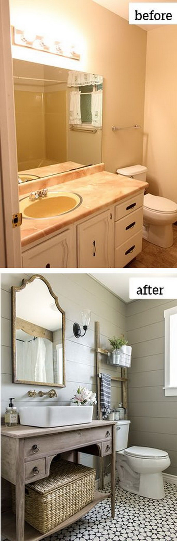 Before and after makeovers 20 most beautiful bathroom for Makeovers for small bathrooms