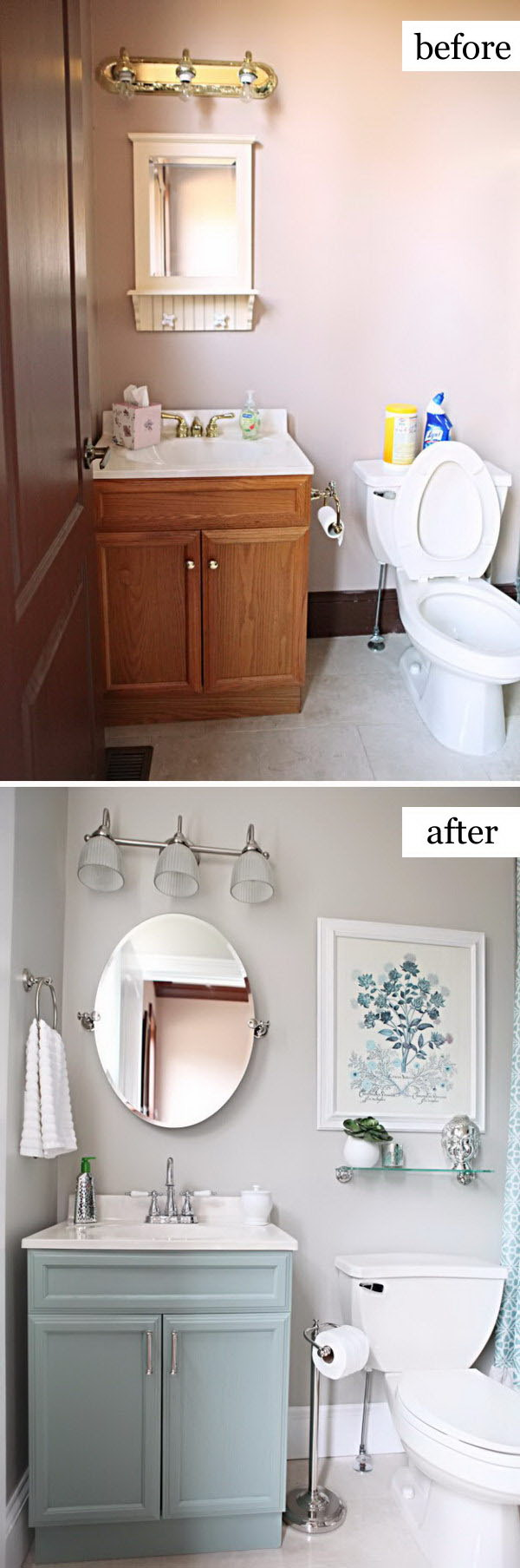 Before and after makeovers 20 most beautiful bathroom for Fast bathroom remodel