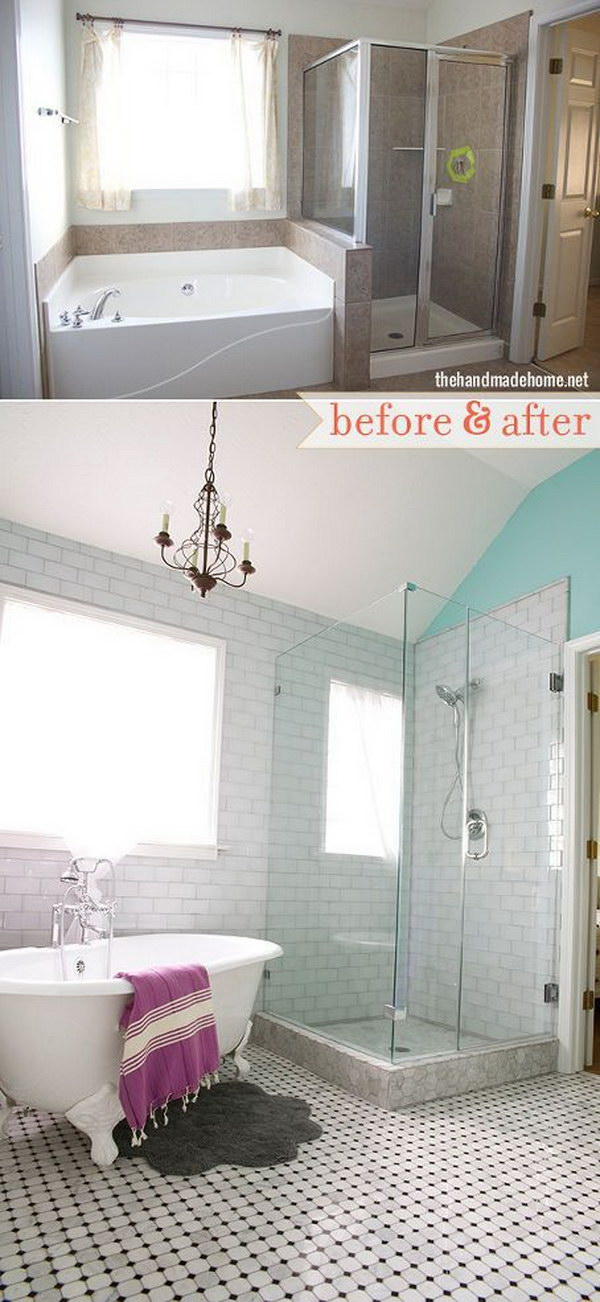 A Master Bath's Unexpected Makeover Using White Glass and Subway Tile.