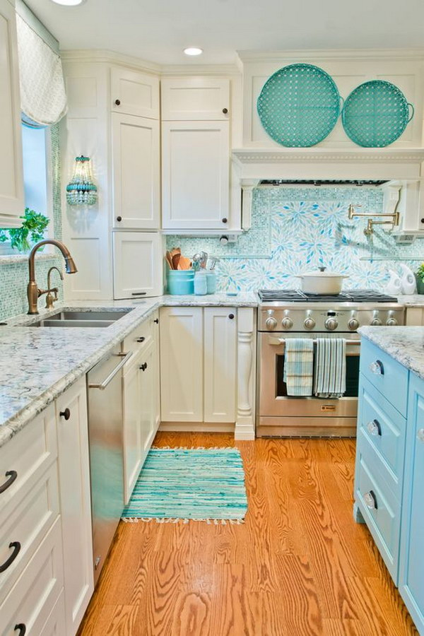White Kitchen With A Bit Of Turquoise.