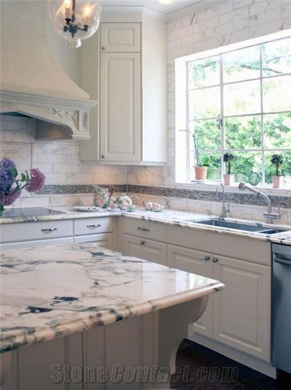 Calacatta Viola Marble Kitchen Countertop.