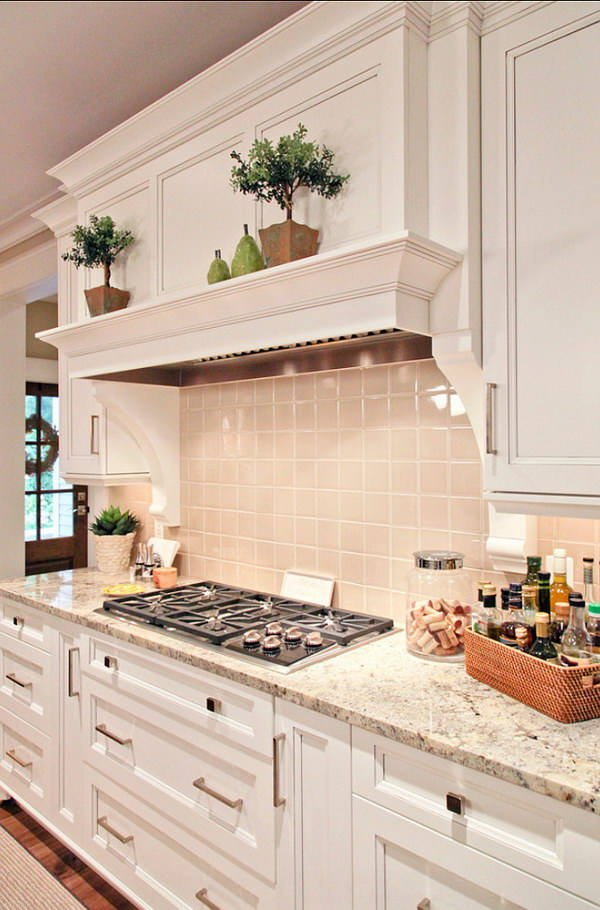 White Kitchen with Persia Avorio Granite Countertop.