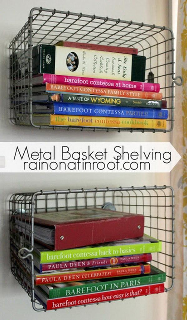 DIY Metal Basket Shelving.