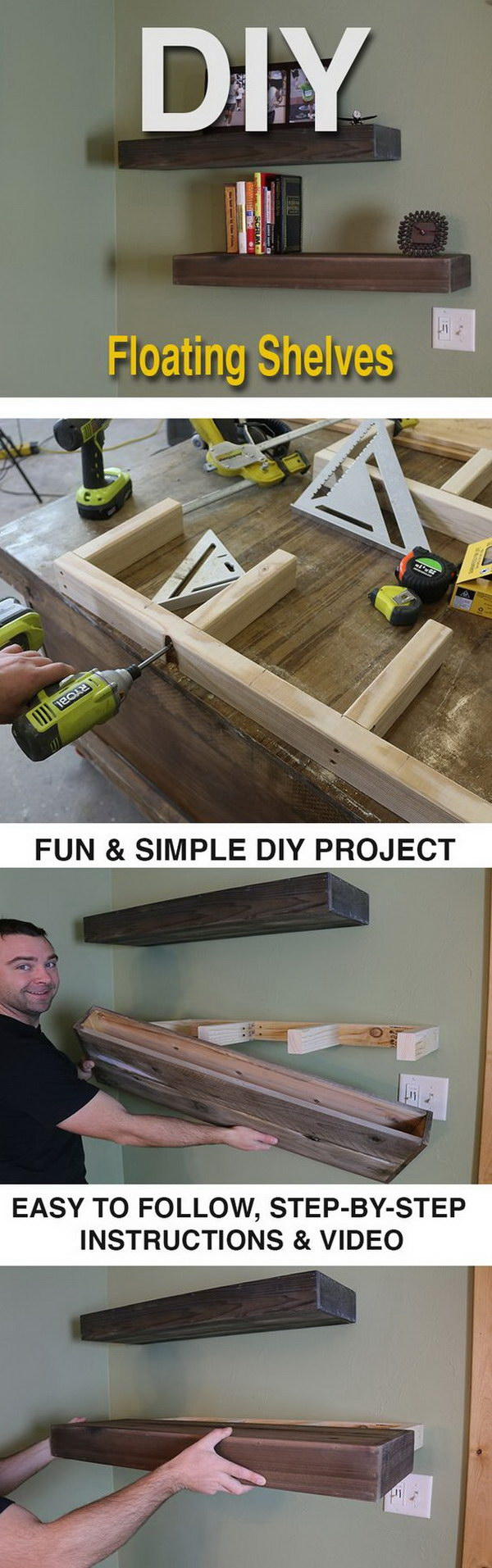 DIY Wood Floating Shelves.