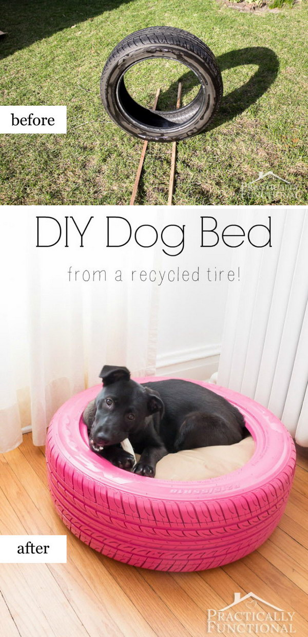 DIY Dog Bed From Old Tire.