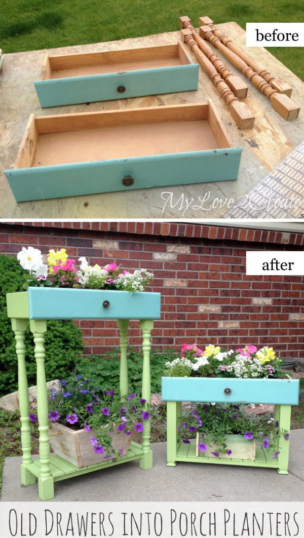 Old Drawers Turned Into Porch Planters.