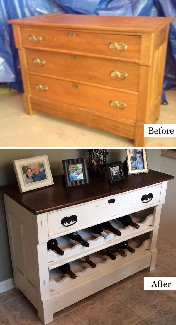 Dresser To Wine Rack DIY.