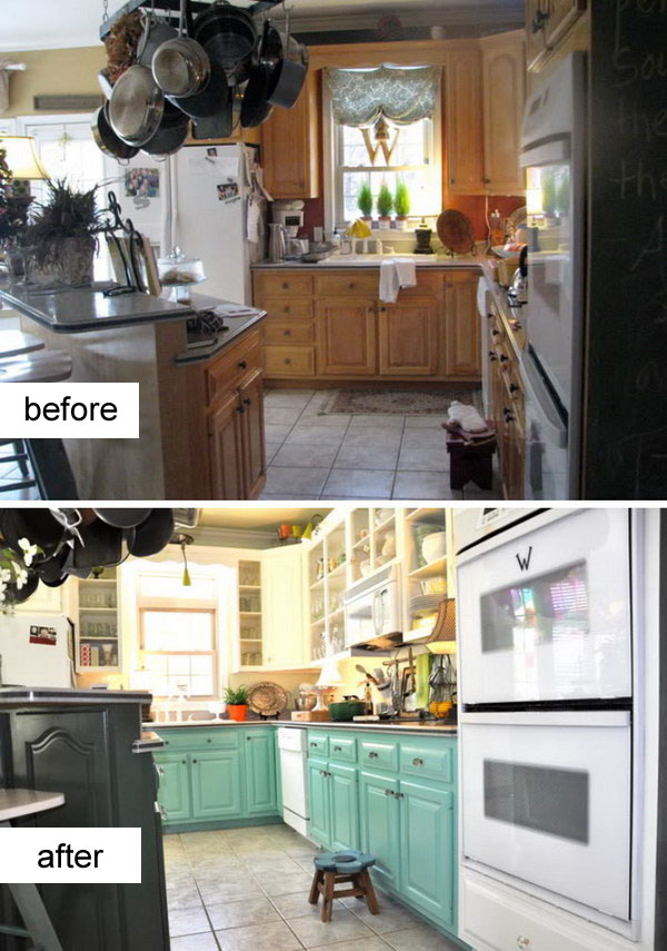 Kitchen Before & After: Going Retro with Turquoise Cabinetry.