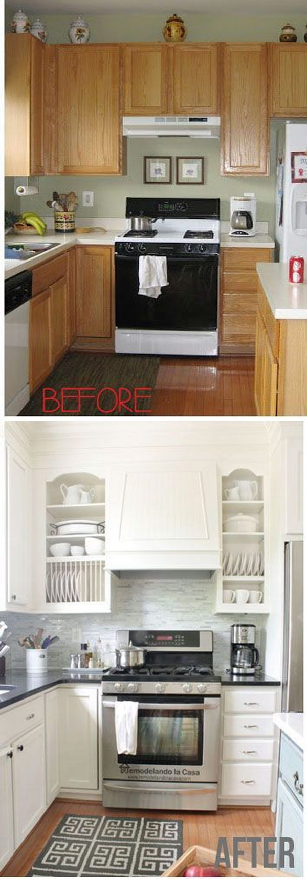 Kitchen Makeover With White Painted Cabinets.
