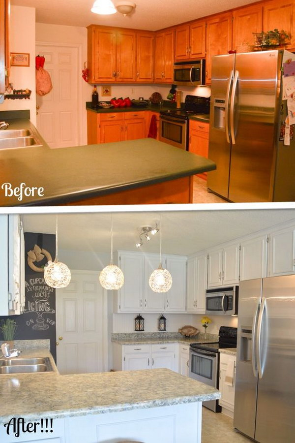 Kitchen Makeover on a Budget: Remodel Your Cabinets and Countertops with Paint for Under $200.