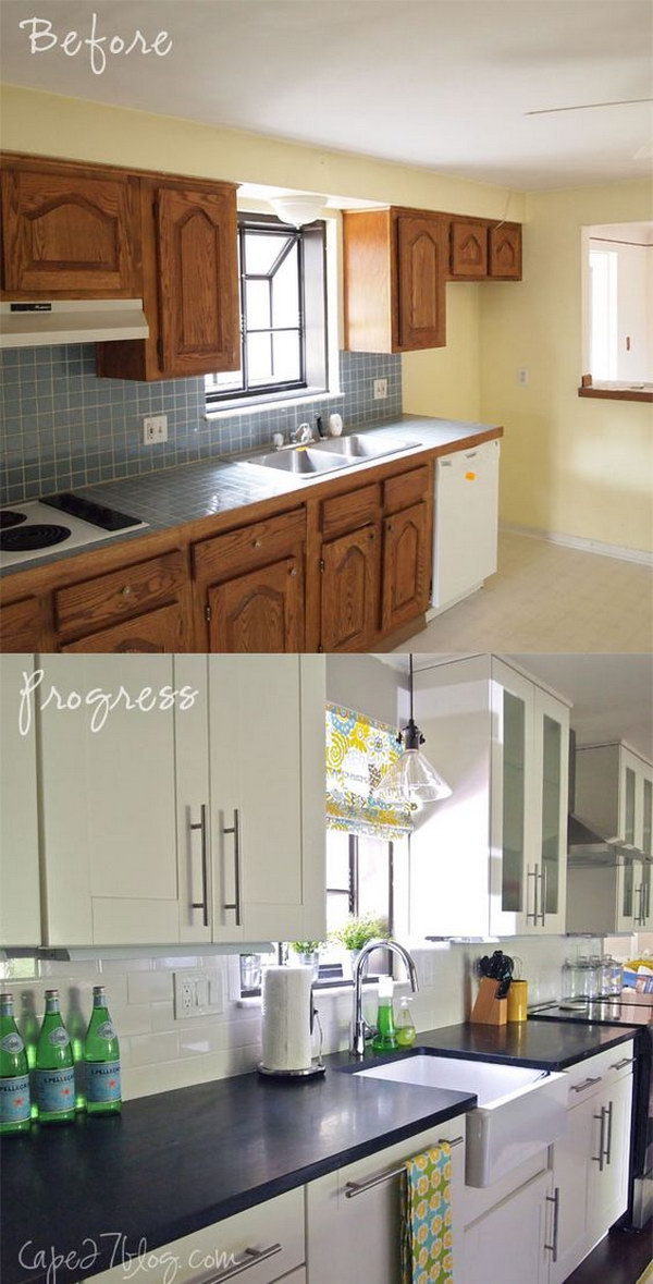 Pretty before and after kitchen makeovers noted list for Kitchen renovation before and after