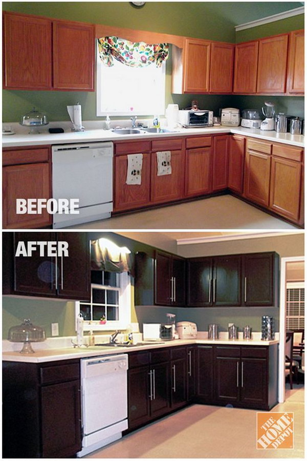 Pretty before and after kitchen makeovers noted list for Refinishing kitchen cabinets before and after