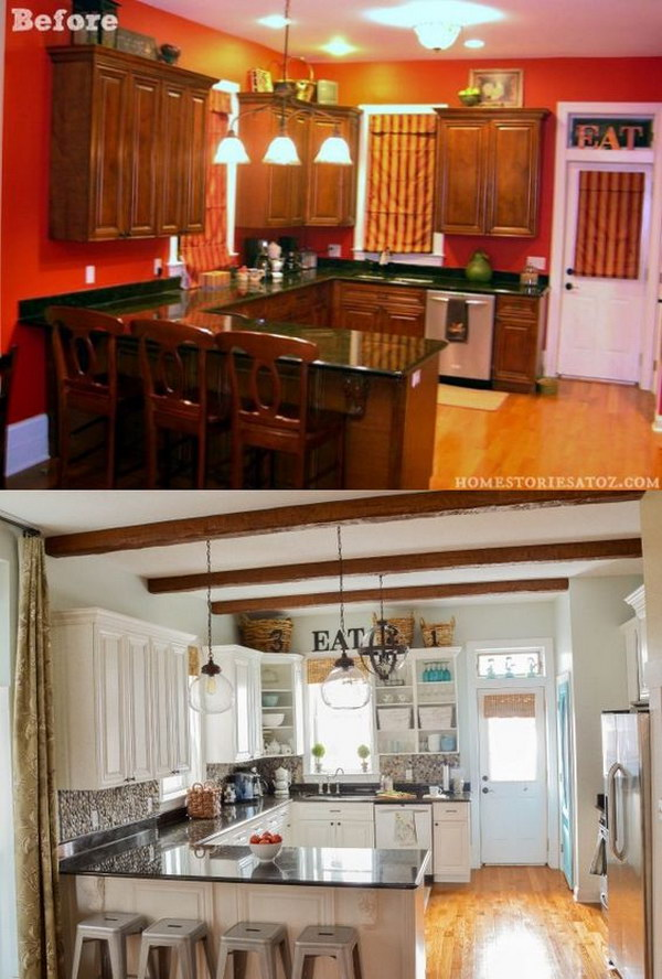 Pretty before and after kitchen makeovers noted list for Kitchen cabinets update ideas on a budget