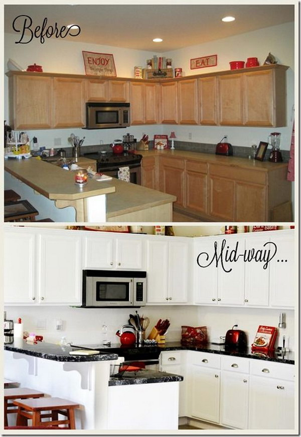 Pretty before and after kitchen makeovers noted list for Painting kitchen countertops before and after