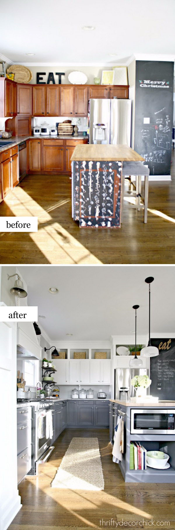 Stunning DIY Whiten and Gray Kitchen Makeover.
