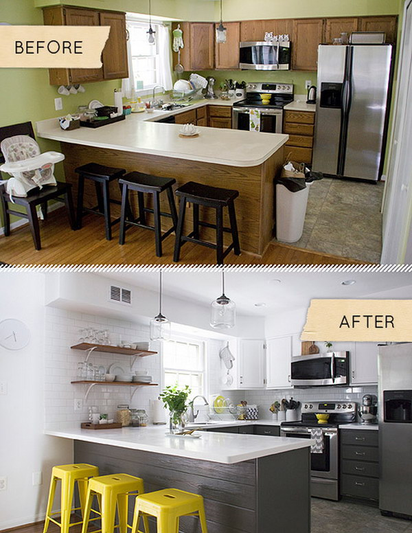 Before And After This Renovated Ranch Kitchen Beautifully Blends Rustic With Modern: Pretty Before And After Kitchen Makeovers