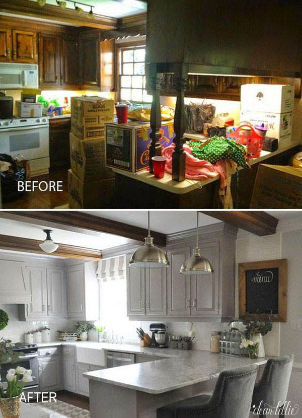 Pretty before and after kitchen makeovers noted list for 70s kitchen remodel ideas
