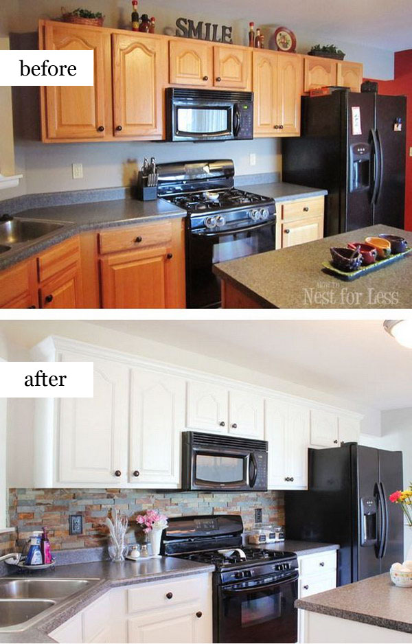 Pretty before and after kitchen makeovers noted list for Painting wood cabinets white before and after