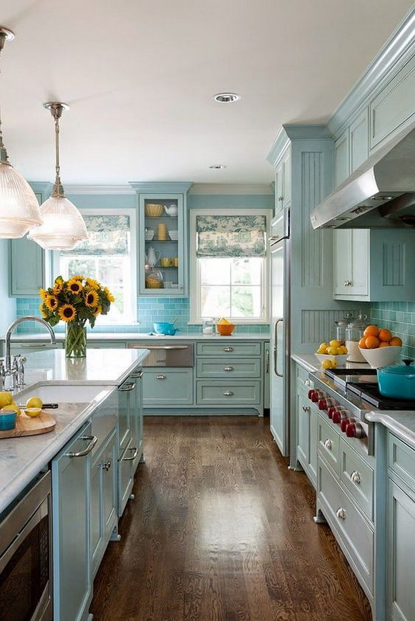 80 cool kitchen cabinet paint color ideas noted list Blue kitchen paint color ideas