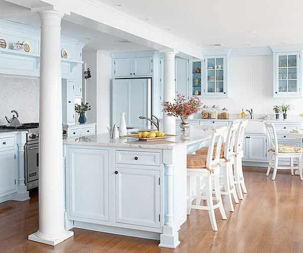 80 cool kitchen cabinet paint color ideas noted list for Blue kitchen paint colors