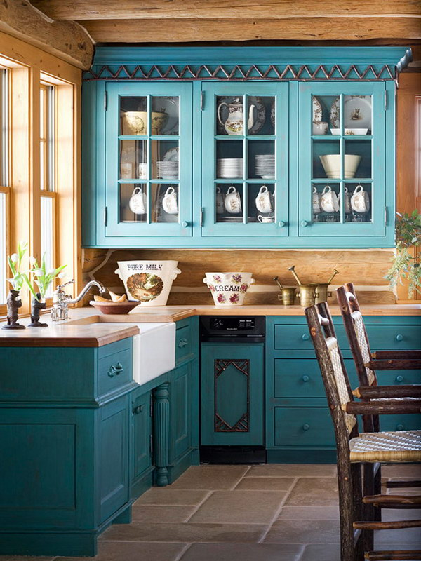 Turquoise Painted Kitchen Cabinets.