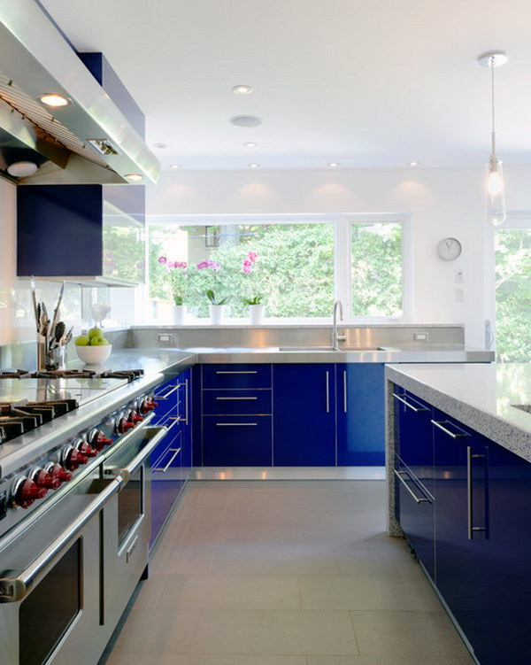 Contemporary Kitchen with Blue Cabinets.