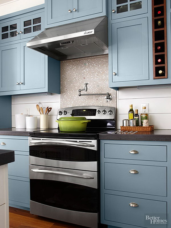 Ocean blue kitchen cabinets Kitchen cabinet colors 2016