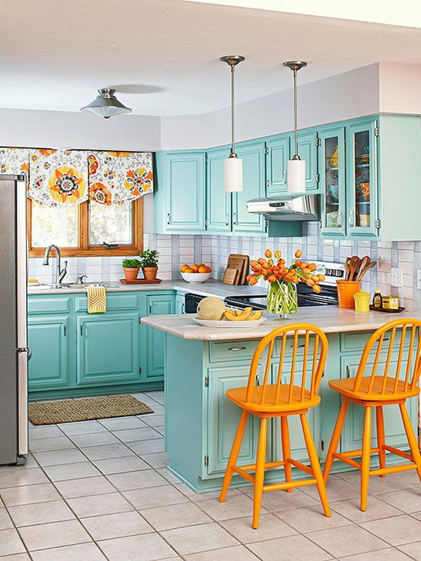 Turquoise Kitchen Cabinats.