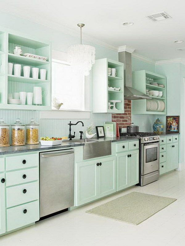 Mint GreeN Kitchen Cabinets.