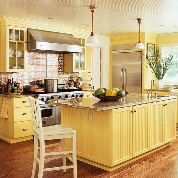 Buttery Yellow Kitchen Cabinets.