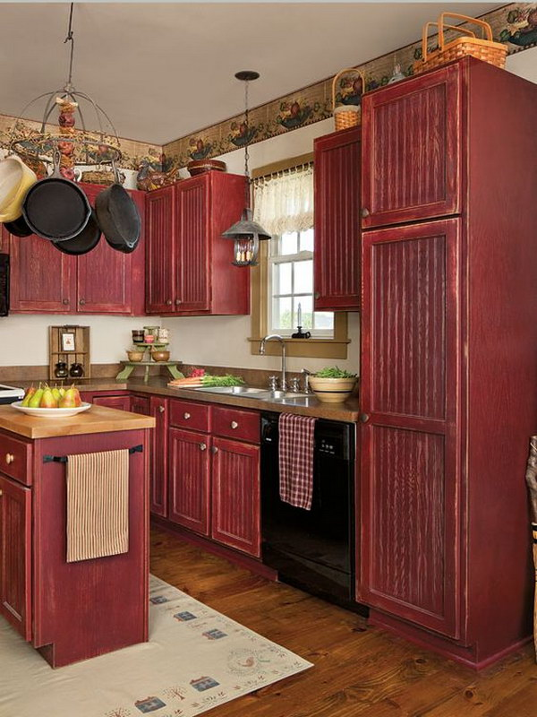 80 cool kitchen cabinet paint color ideas noted list for Country kitchen cabinets