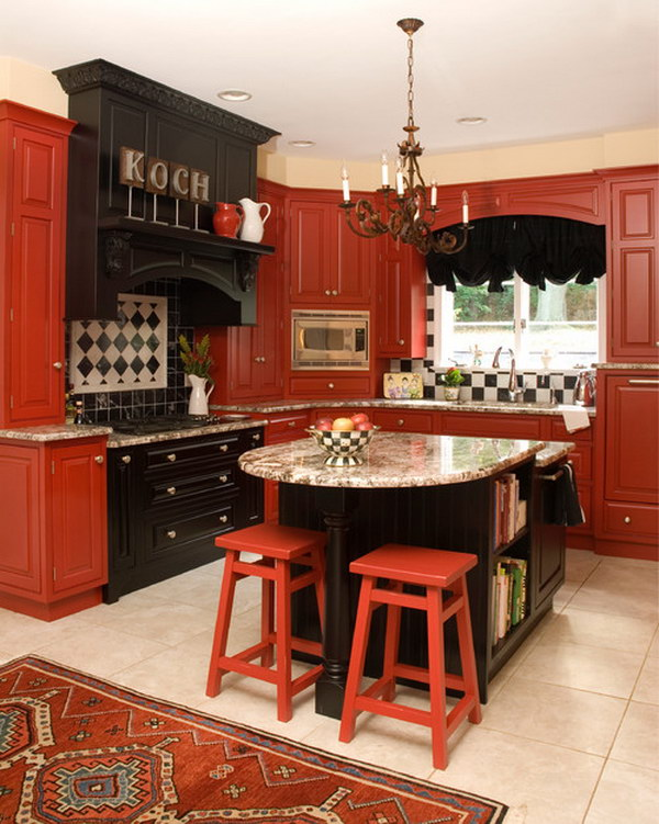 Traditional Kitchen with Red Cabinets, Raised Panel Cabinets.