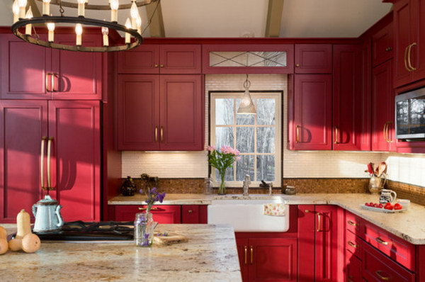 Original Tiny Farmhouse Kitchen With Red Painted Cabinets