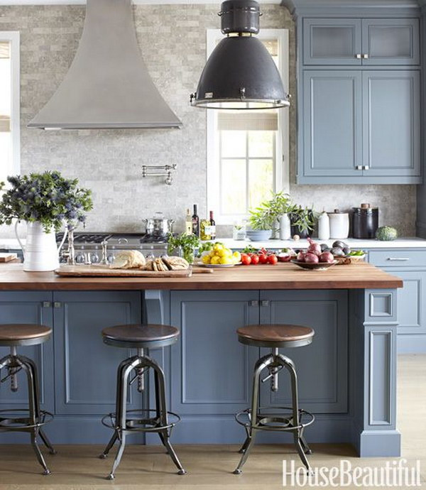 Blue Gray Kitchen Paint: 80+ Cool Kitchen Cabinet Paint Color Ideas