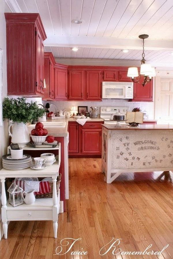 80 cool kitchen cabinet paint color ideas noted list for Grey kitchen cabinets with red walls