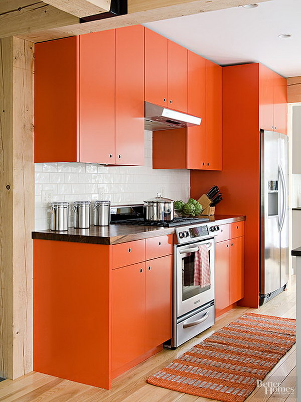 80 cool kitchen cabinet paint color ideas noted list for Burnt orange kitchen cabinets