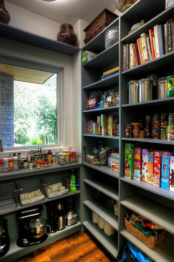 Mid Sized Transitional Kitchen Pantry with Dark Cabinets.