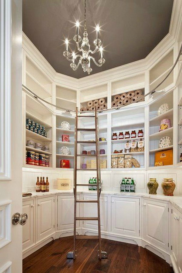 Gorgeous Pantry with Beautiful Built in Cabinetry and Cool Ladder for Easy Access to Everything.