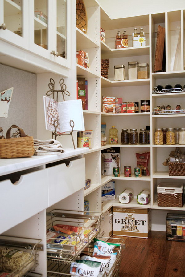White Atlanta Pantry Includes a Metal Book Holder for Recipes.