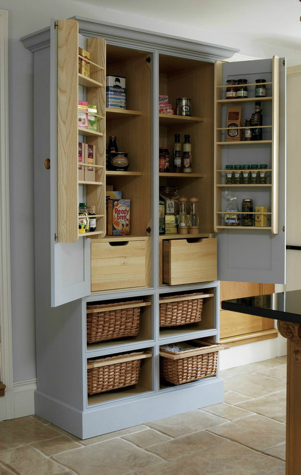 Free Standing Kitchen Pantry Made from Wood Cabinet.