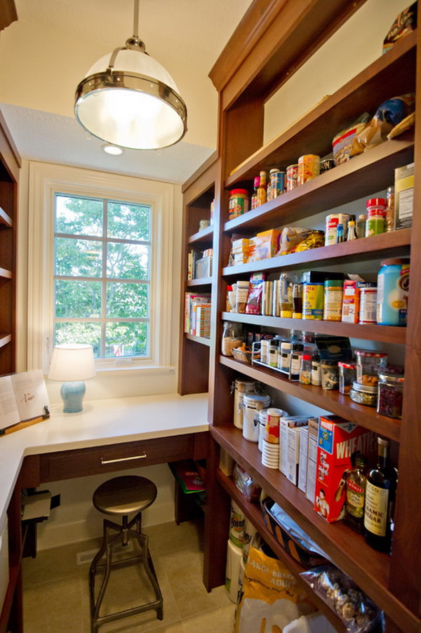 Kitchen Pantry Doubles as An Office Space with a Table Lamp and a Turner Bar Stool.