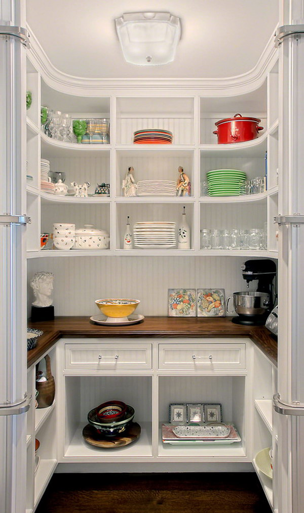 Kitchen Pantry with Curved Shelves.