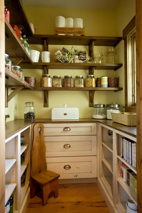 Farmhouse Kitchen Pantry with Wood Open Shelving.